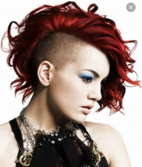Red curly Bob with side shave Shaved Undercut, Shaved Hair, Red Hair  Undercut,