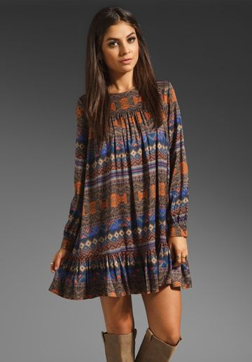 Fall colors patterned long sleeve babydoll dress. I would wear it with leggings