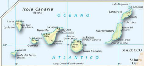 Cartina Canarie Spagna.Mappa Isole Canarie Cartina Isole Canarie Isole Canarie Isola Mappa