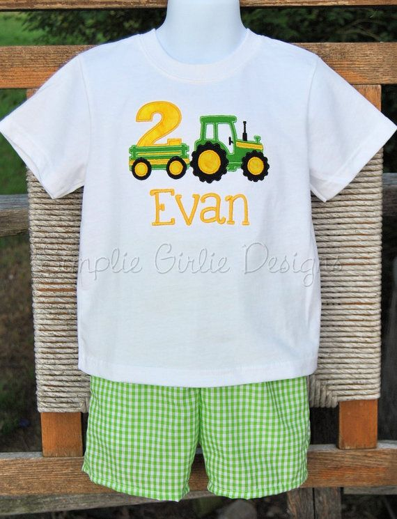 Tractor Birthday Shirt And Gingham Shorts Set By SimplieGirlieDesigns 4000