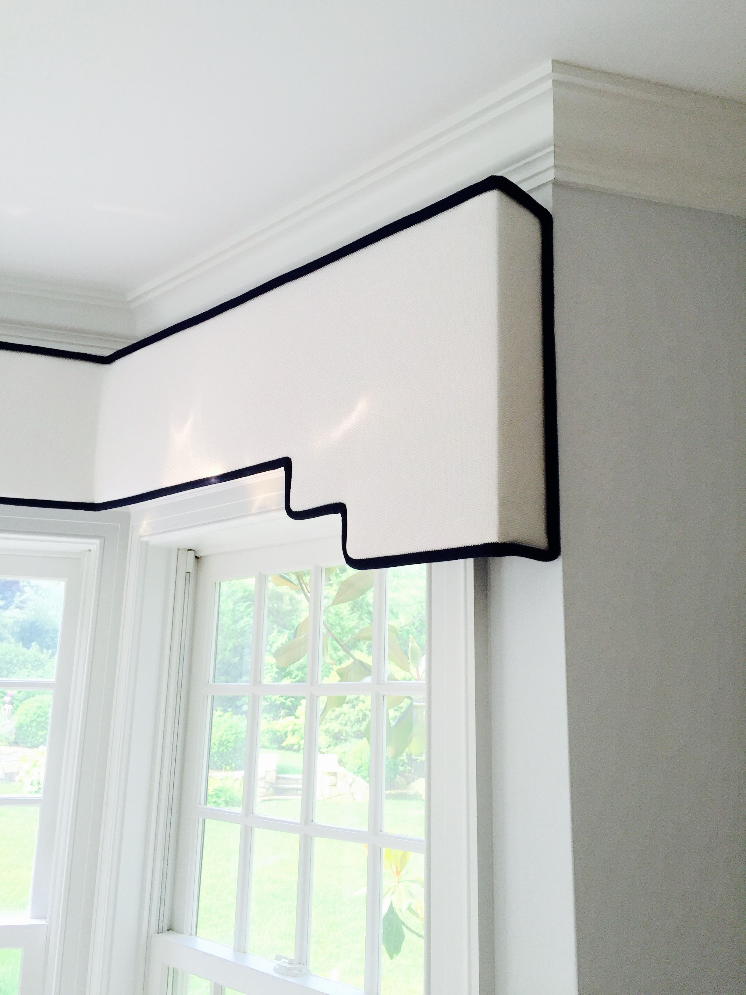 Soft Edged Stepped Cornice Board In Zimmer Rohde White
