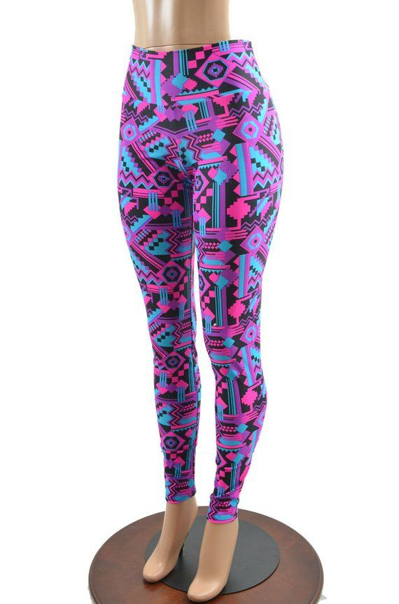 44443949904882 Neon UV GLOW Pink & Black Aztec Geometric Print High Waist Lycra Spandex  Leggings -E7639