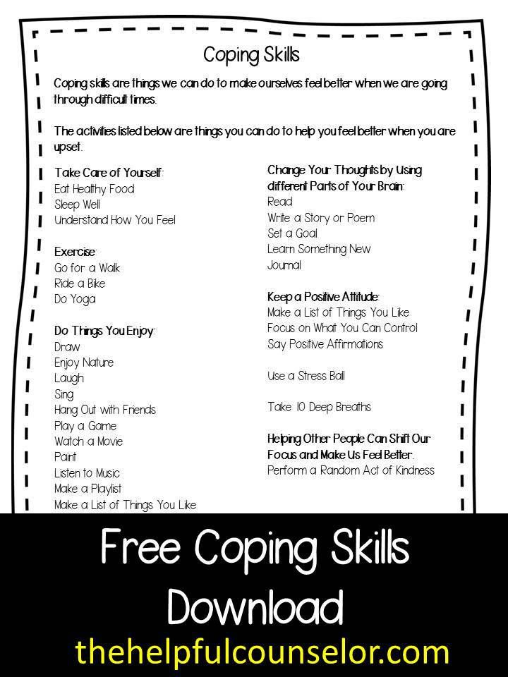 New Counseling Games and Activities - FREE Coping Skills Download - list of skills