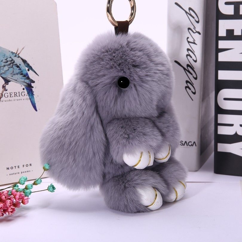 Plush Hare Fur Toy For Baby Soft Keychain Gift Girl Key