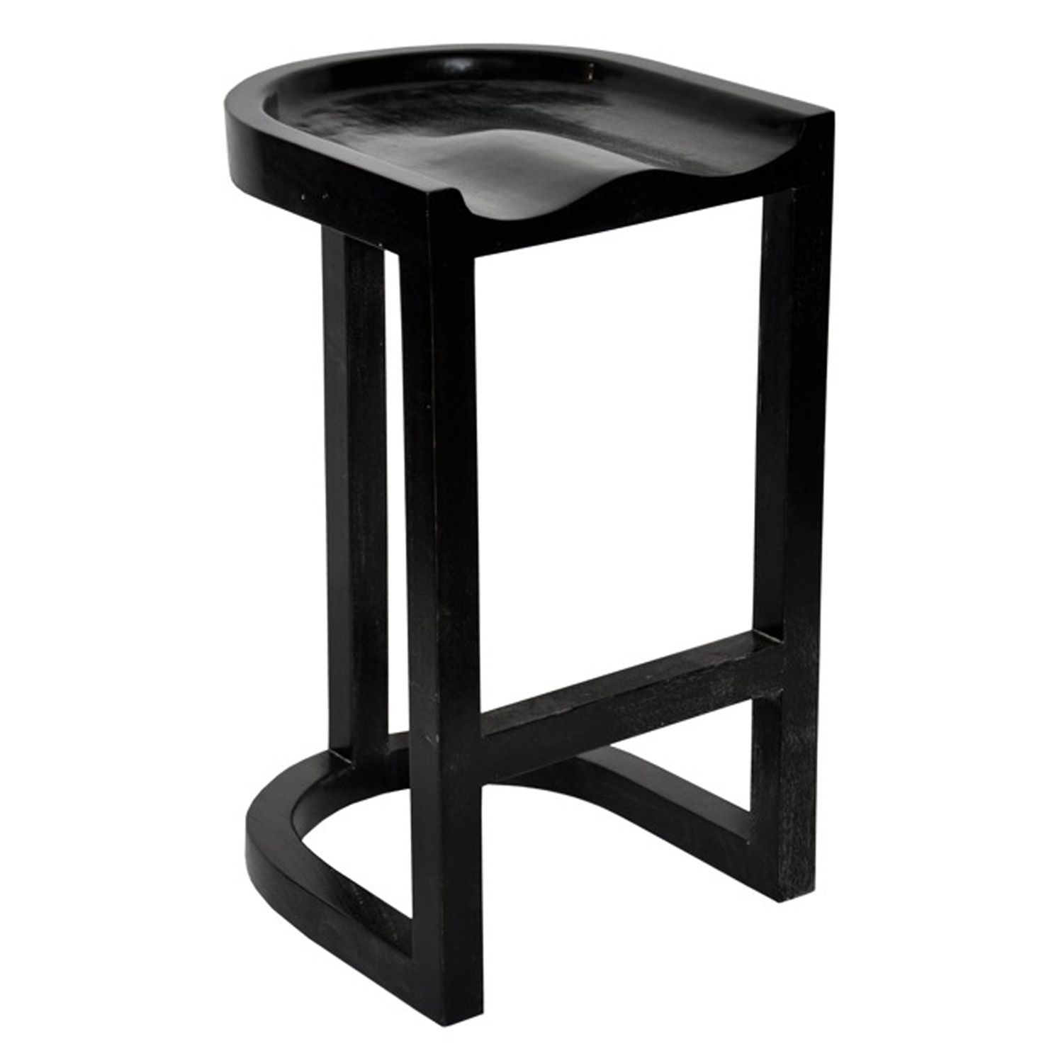 Noir Saddle Counter Stool Hand Rubbed Black NOIGSTOOL111HBS ...