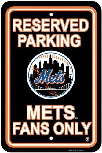 """New York Mets MLB Plastic Parking Sign by BSI. $6.50. Great for home office or dorm. Durable Styrene Construction. Show your team spirit proudly with this 12"""" X 18"""" Parking Sign. Each 12"""" x 18"""" parking sign is made of durable styrene. The officially licensed parking sign is decorated in the team colors great for decorating home office or dorm.. Save 79% Off!"""