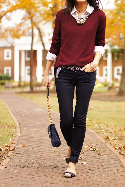white button down dress shirt, burgundy crew neck sweater, dark skinny jeans, pearl necklace, flats