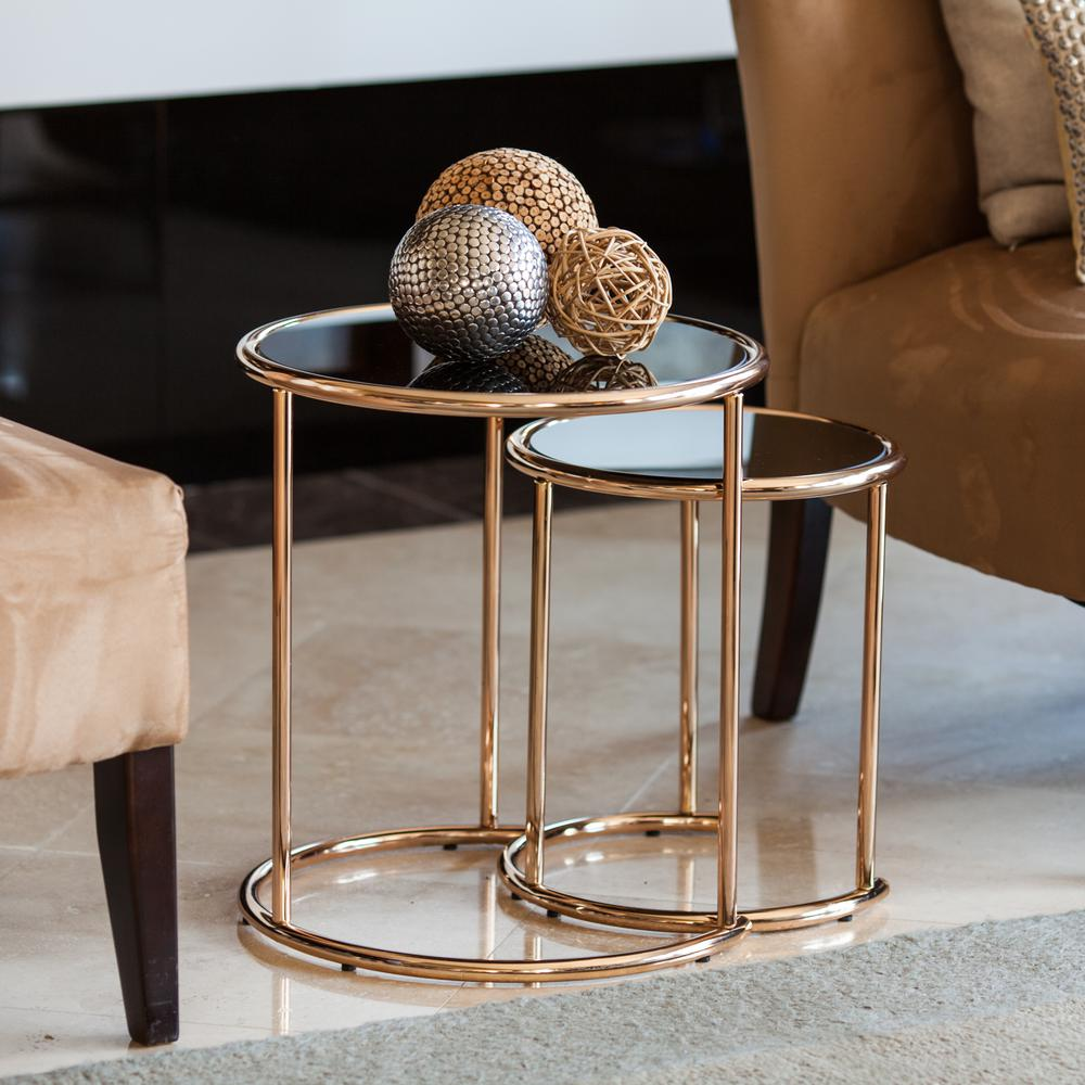 Danya B Rose Gold Metal Frame And Black Glass Top Nested Round End Tables Set Of 2 Ha15904 The Home Depot Rose Gold Room Decor Gold Room Decor Round End Tables