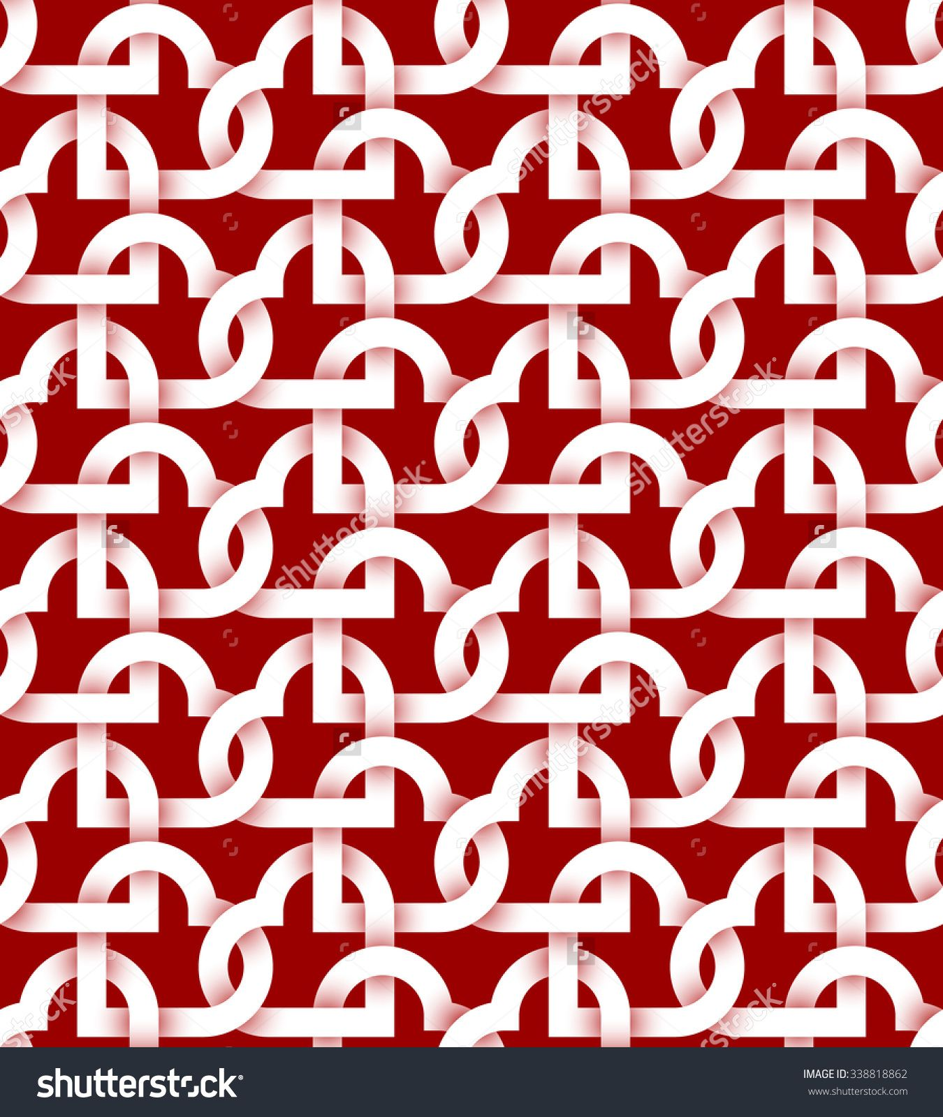 Abstract repeatable #pattern #background of white twisted strips on red. Swatch of intertwined #hearts.