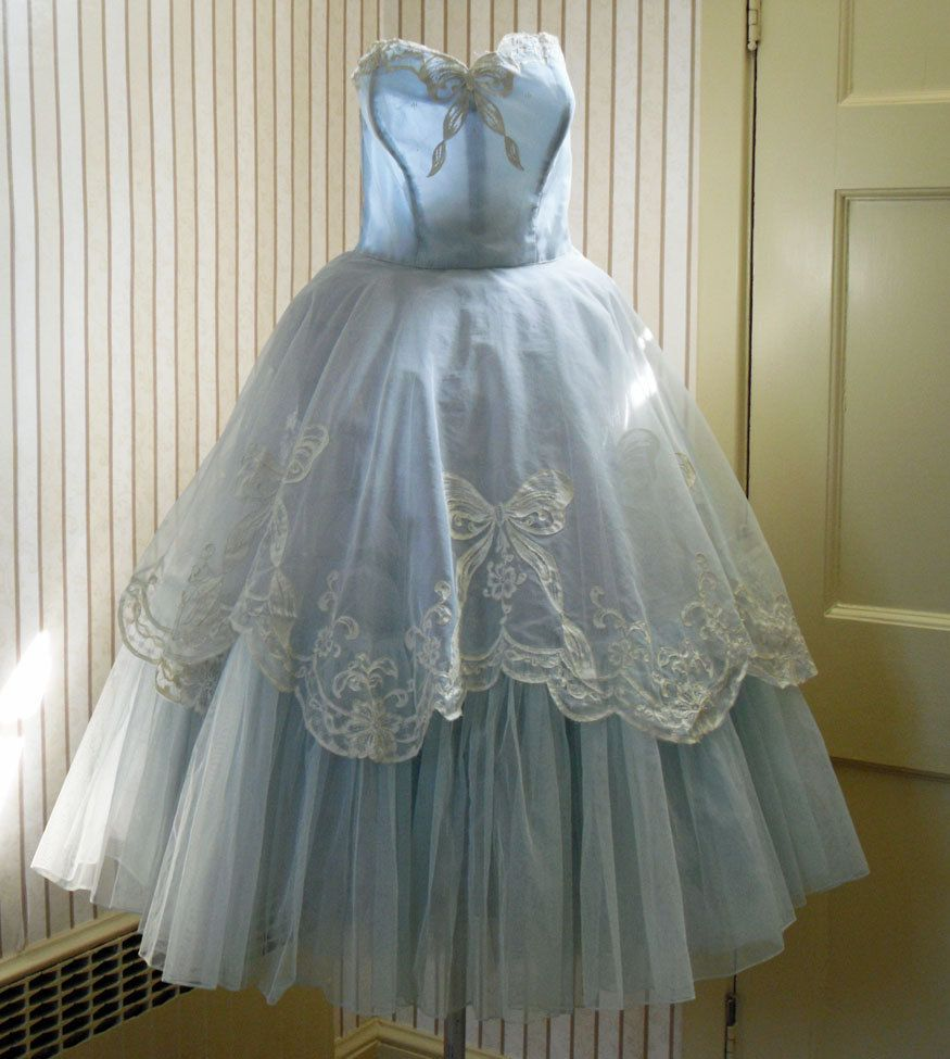Vintage Wedding Dresses Usa: Vintage 50s Pale Blue Cinderella Strapless Dress By