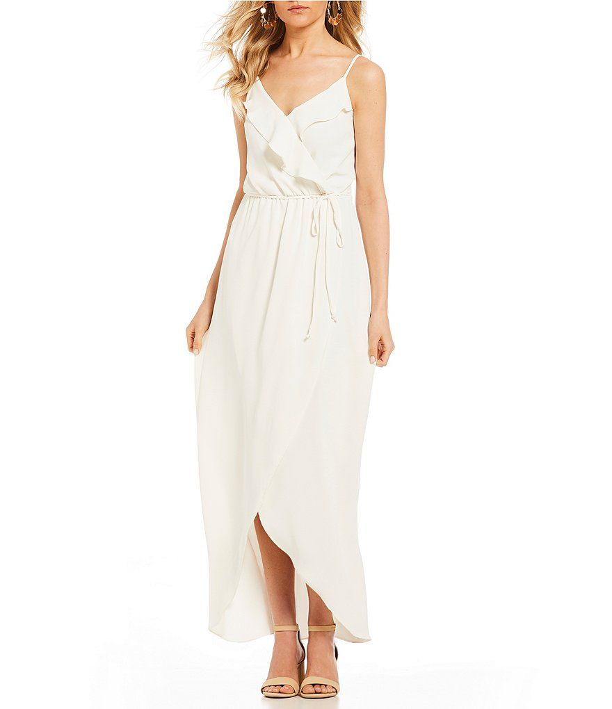 Ivory Fan Fav Ruffle Tie Front Maxi Dress Gb Faux Wrap Maxi At