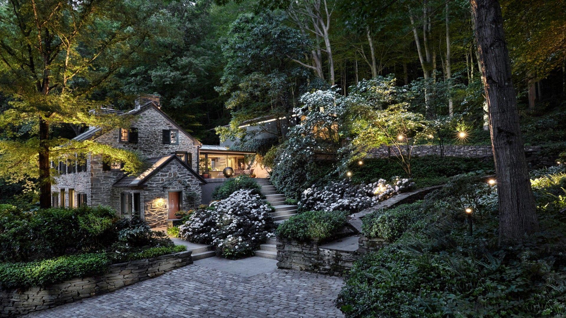 nature landscape trees house england uk cottage forest