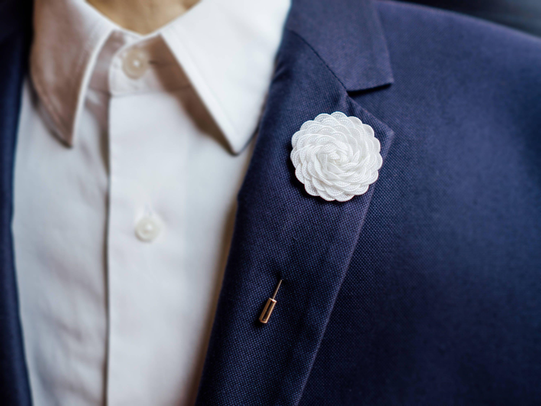 Yellow Brooch, White Lapel Pin, Unique Gift Idea, Elegant Suit ...