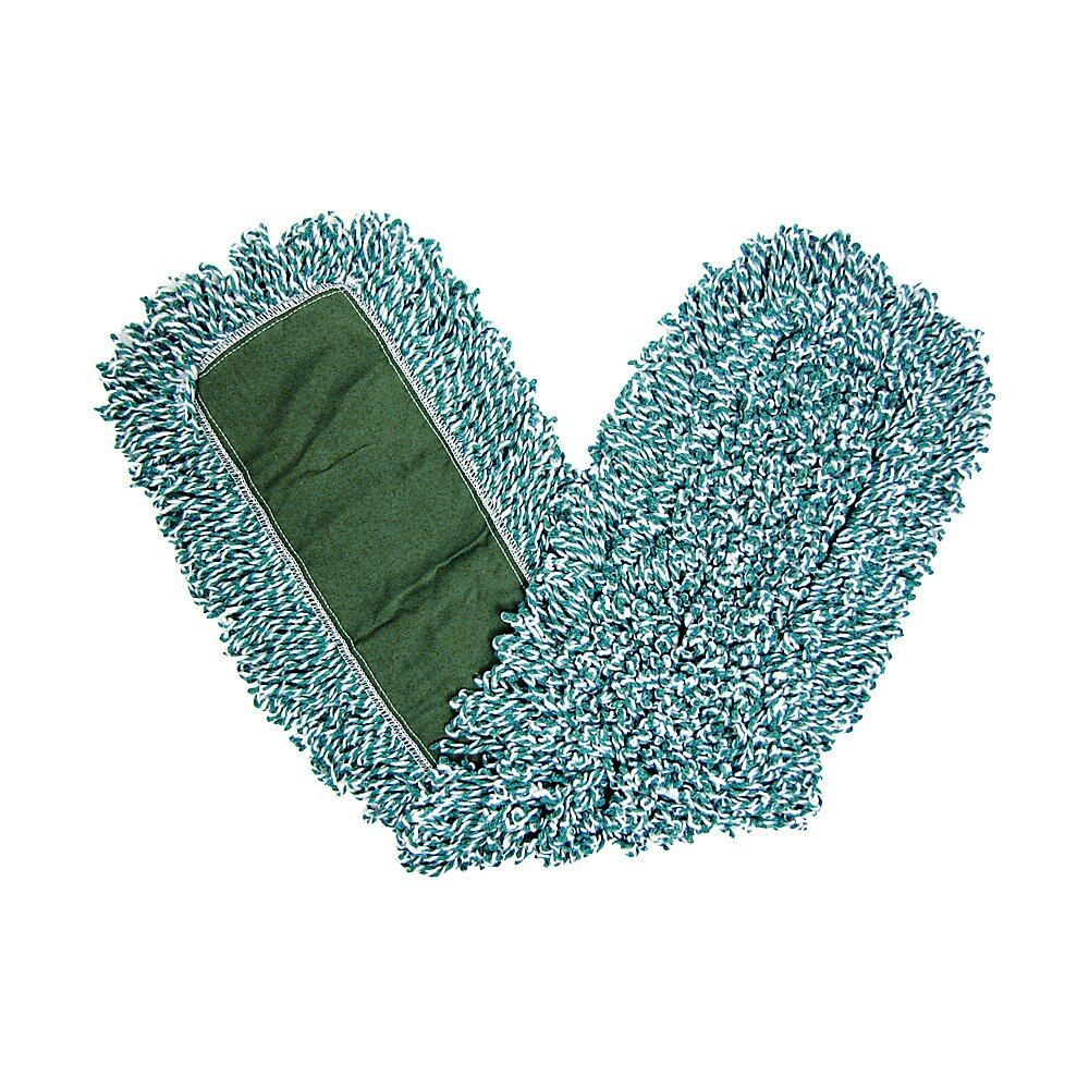 Green 36-Inch Single Sided Rubbermaid Commercial HYGEN Microfiber Mop Pad with Fringe