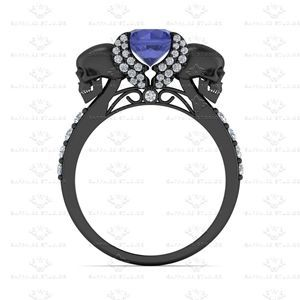 Show details for 'Ailes de L'amour' 1.80ct Blue Sapphire and White Diamond Black Gold Engagement Ring