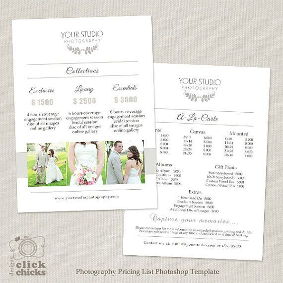 Wedding Photography Pricing List Template - Photography Package - Price Sheet Template