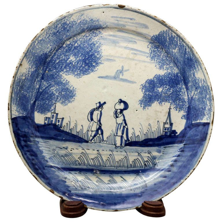 Antique English Delft plate in blue and white London Delft 18th century period  sc 1 st  Pinterest : antique delft plates - pezcame.com