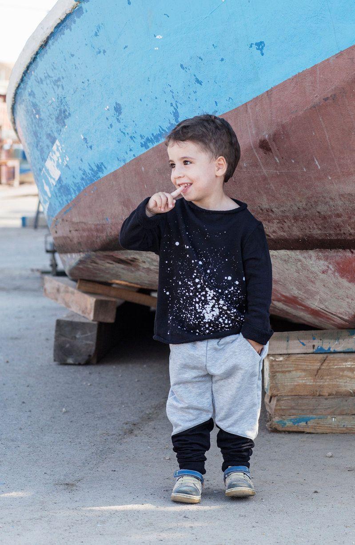 Black Winter Kids Clothing Sweatshirt with paint drops Print (28.00 USD) by NoBiggieKids