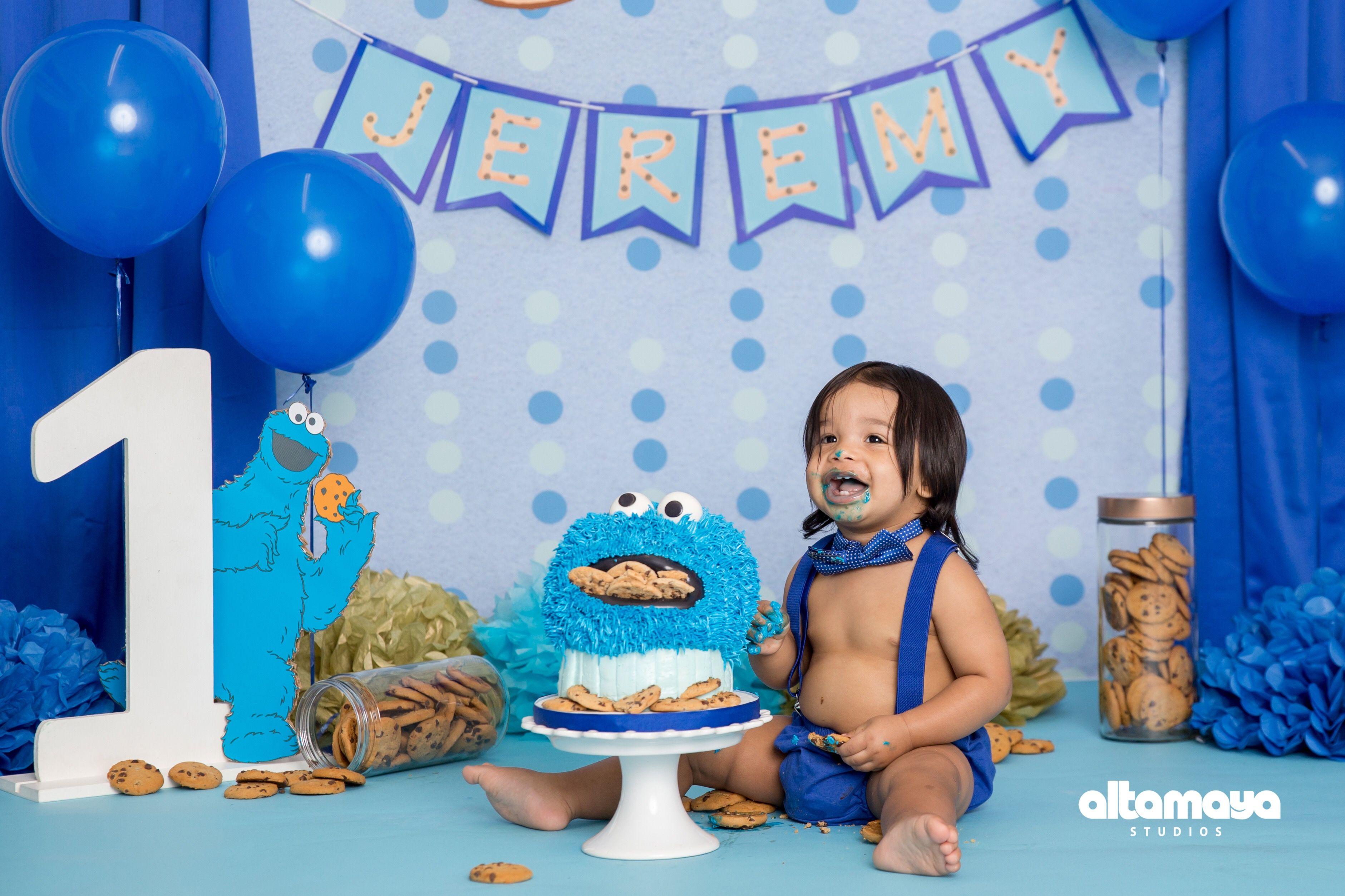Cookie Monster Smash Cake Cookiemonsterparty Cakesmash