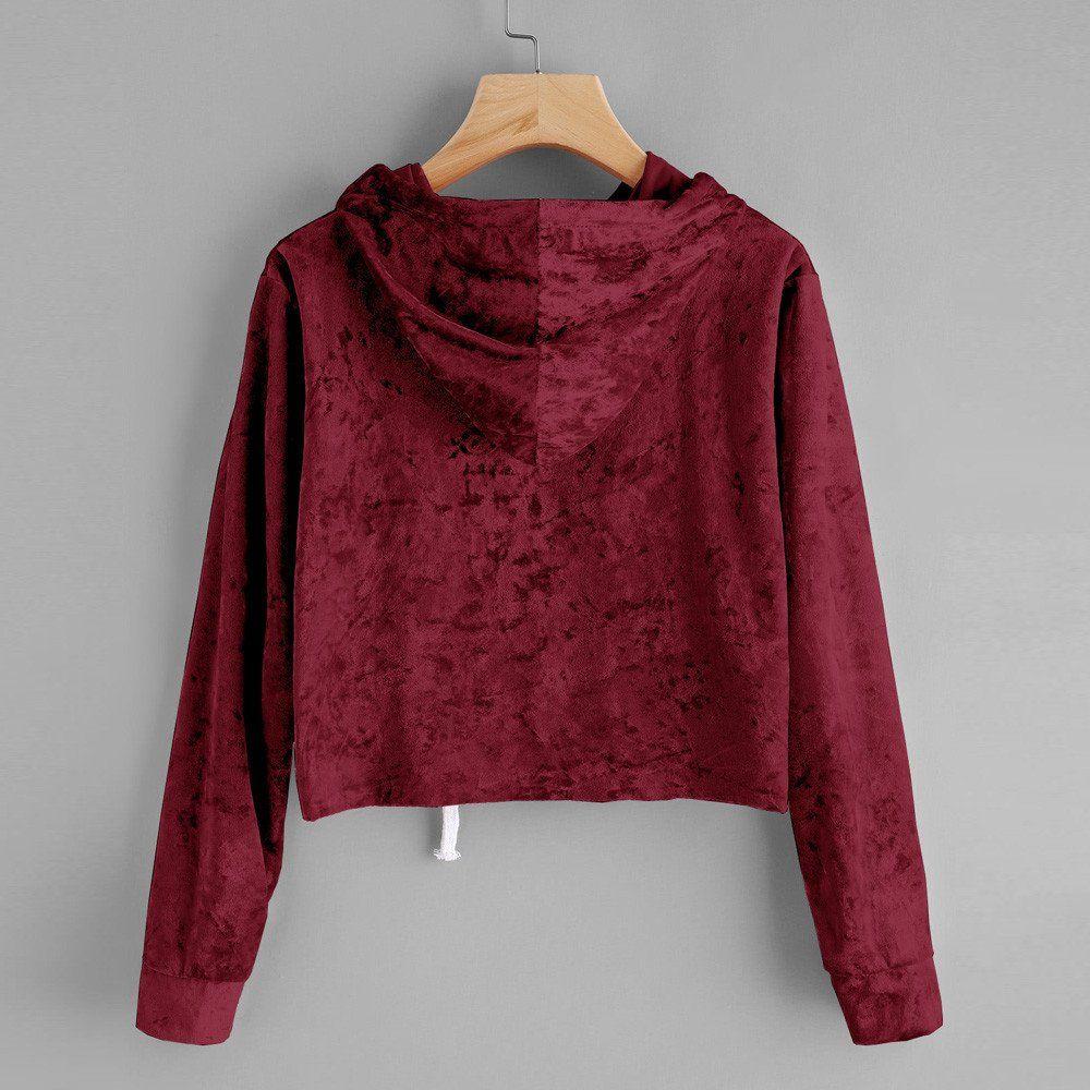 ec7d76b118b Tanhangguan Women Teen Girls Velvet Hoodie Sweatshirt Crop Top Casual Long  Sleeve Croptop Jumper Pullover Tops1 M Wine * See this great product.