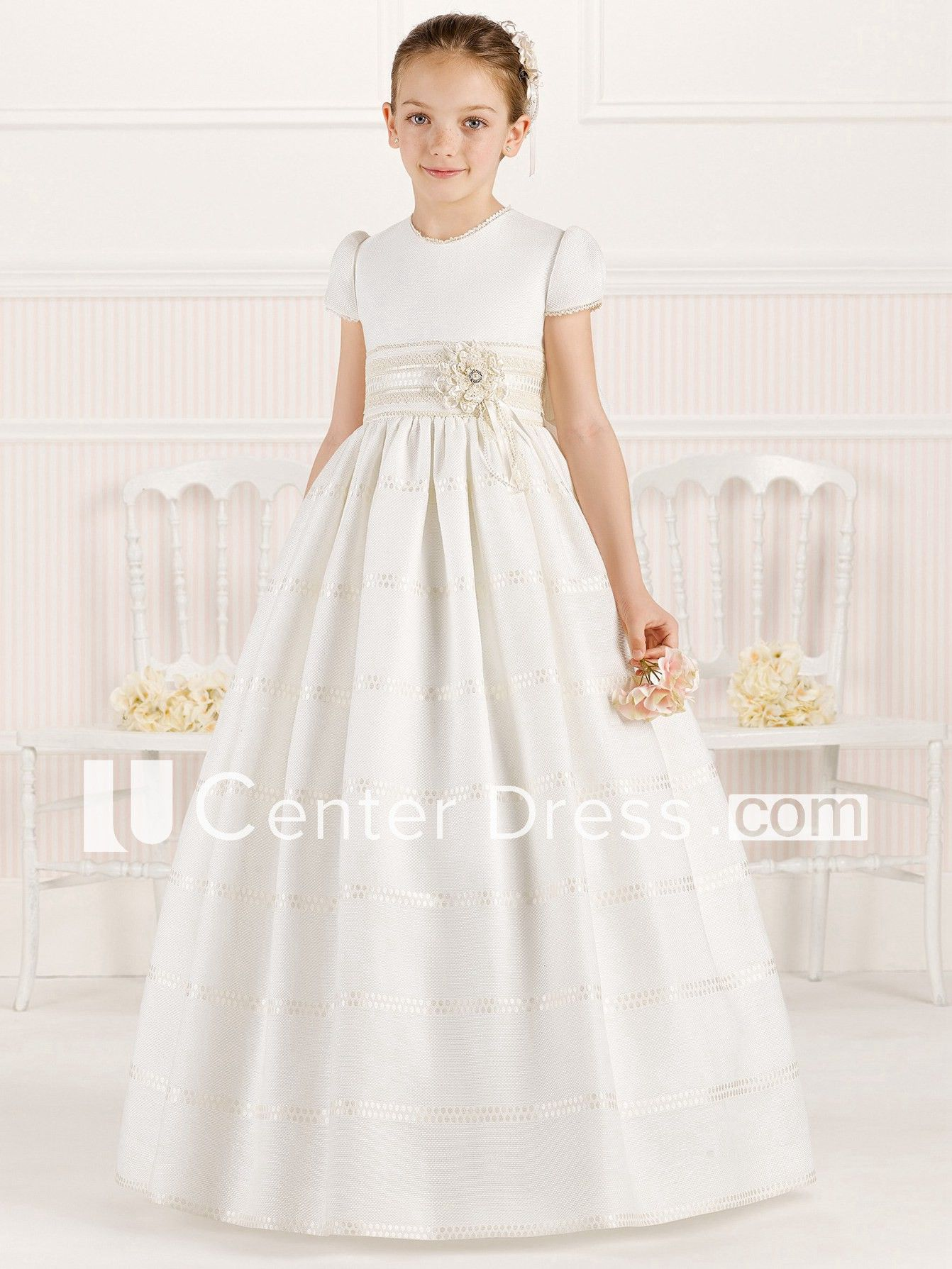 06a597e45 A-Line Floral Short-Sleeve Scoop-Neck Maxi Flower Girl Dress With Lace