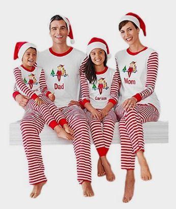 christmas stripes family matching pajamas carson mon dad pjs sets sleepwear clothing amazon httpamznto2gvypby