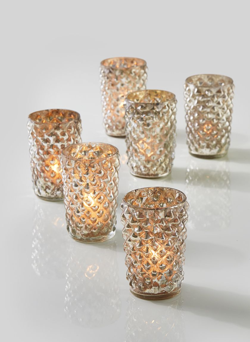 3 1 2in Antique Silver Diamond Votive Holder Set Of 6 Wholesale Candle Holders Mercury Glass Candle Holders Bulk Candles