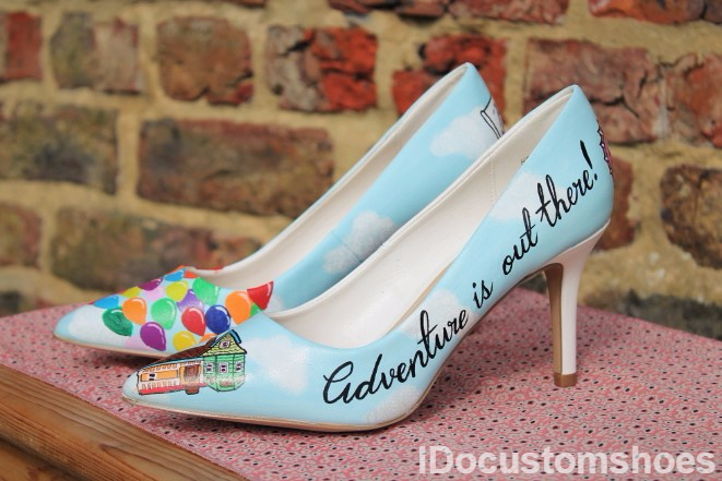 Custom Wedding Shoes Hand Painted With And Up Themed Design By Idocustomshoes Co Uk
