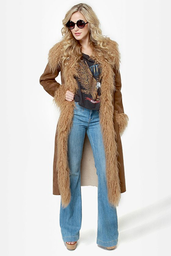 50aa5855d063e This coat reminds me of Jenny from Forrest Gump!  o) BB Dakota Blinda Coat  - Brown Coat - Vegan Suede Coat - Faux Fur Trim Coat -  142.00