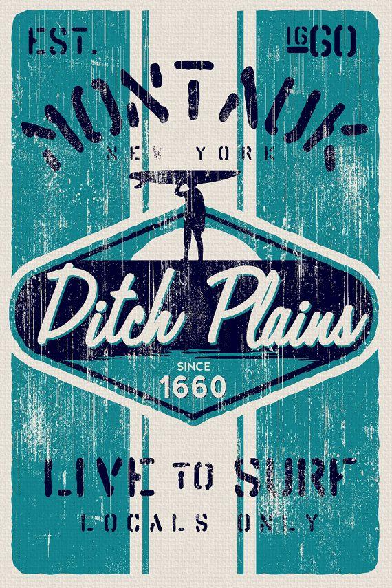 this is 100% original artwork vintage distressed retro surf poster ...
