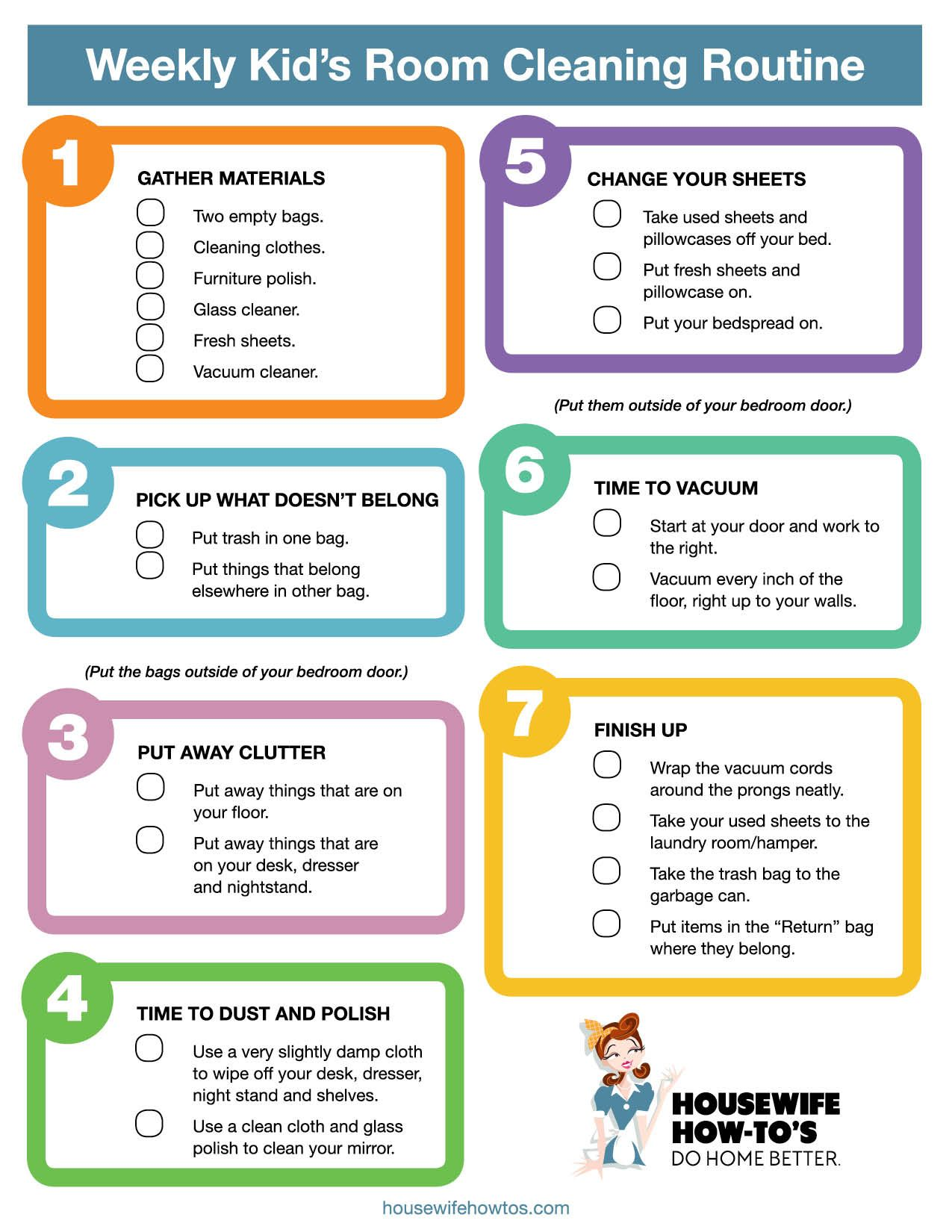 Weekly Kids Bedroom Cleaning Checklist Really Good Step By Step How To As Well