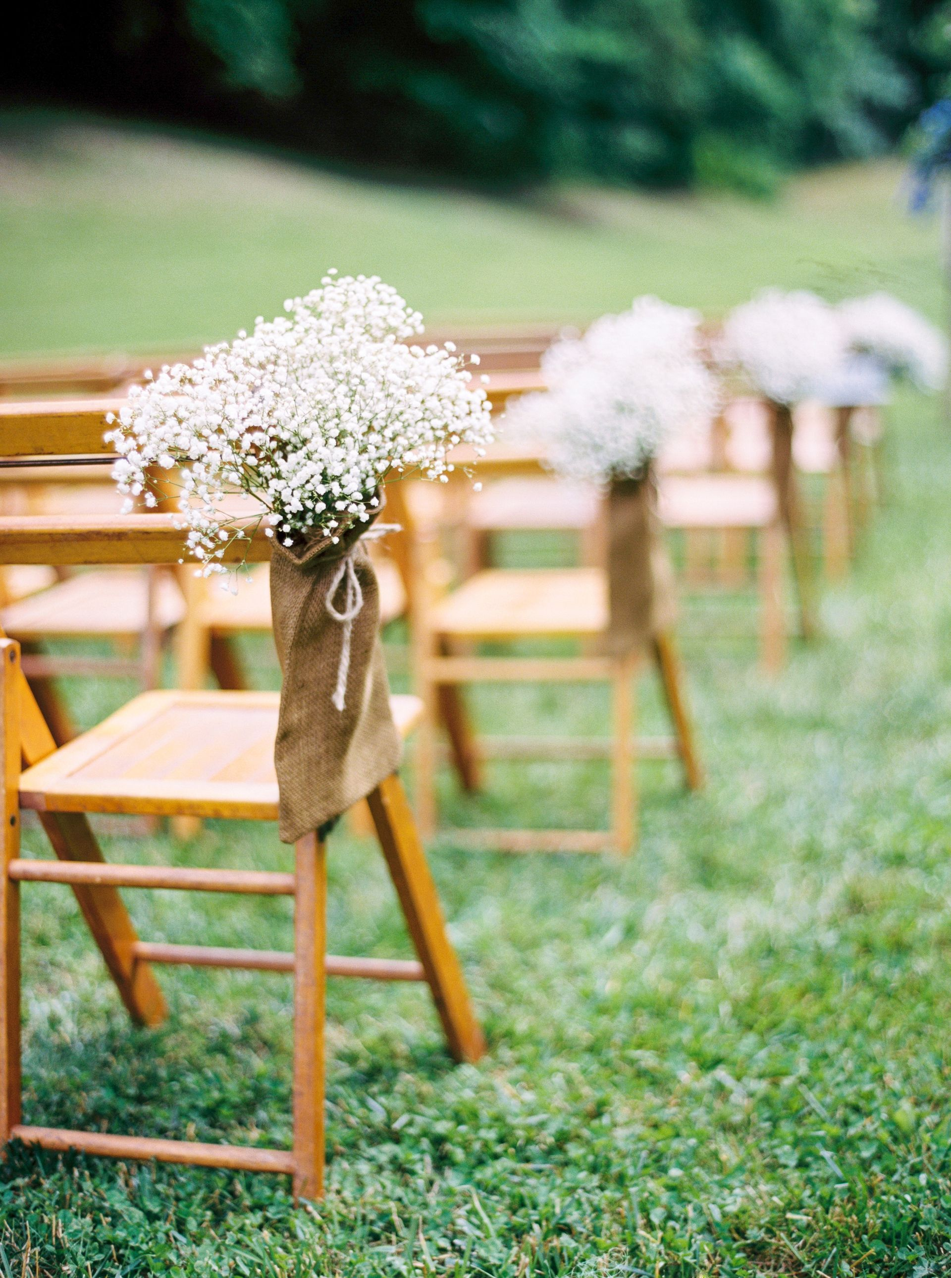 Outdoor Wedding Ceremony Chair Decor Baby S Breath Burlap Bags Rustic Outdoor Wedding Chair Decorations Wedding Ceremony Chairs Outdoor Wedding Decorations