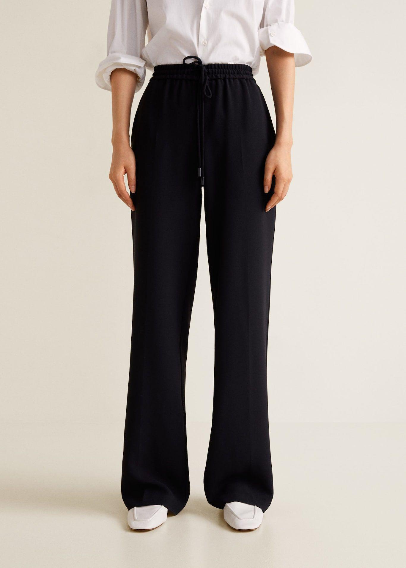 pantalon en crepe fluide droit femme