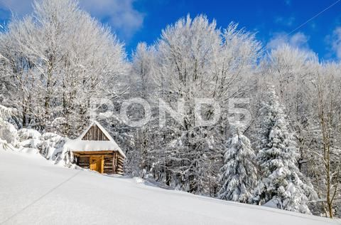 Cabin covered with snow in hills, Poland Stock Photos ,#snow#covered#Cabin#hills