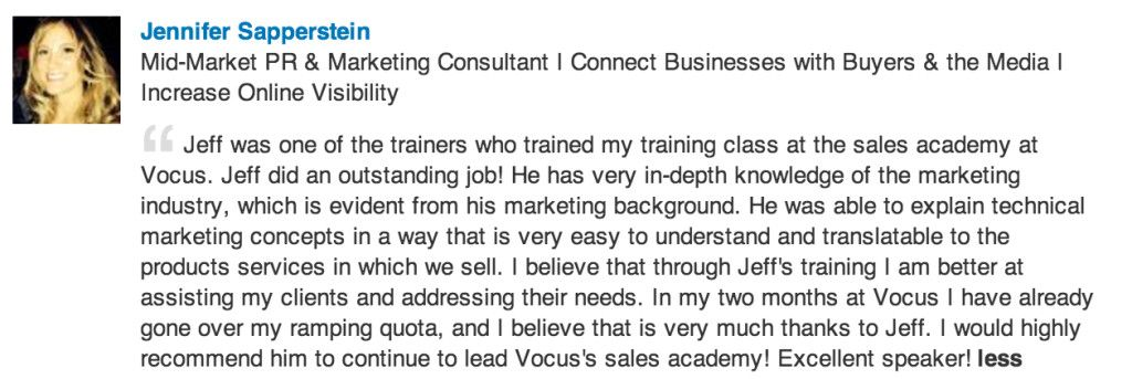 Jeff Zelaya received this recommendation from Jennifer Sapperstein - marketing consultant job description