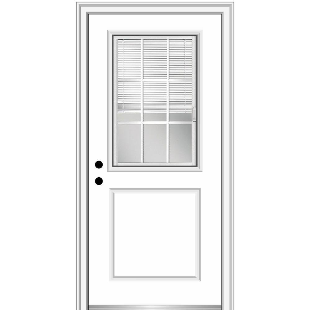 Mmi Door 32 In X 80 In Internal Blinds Grilles Right Hand 1 2 Lite 1 Panel Clear Primed Fiberglass Smooth Prehung Front Door Primed Doors House Design Prehung Doors