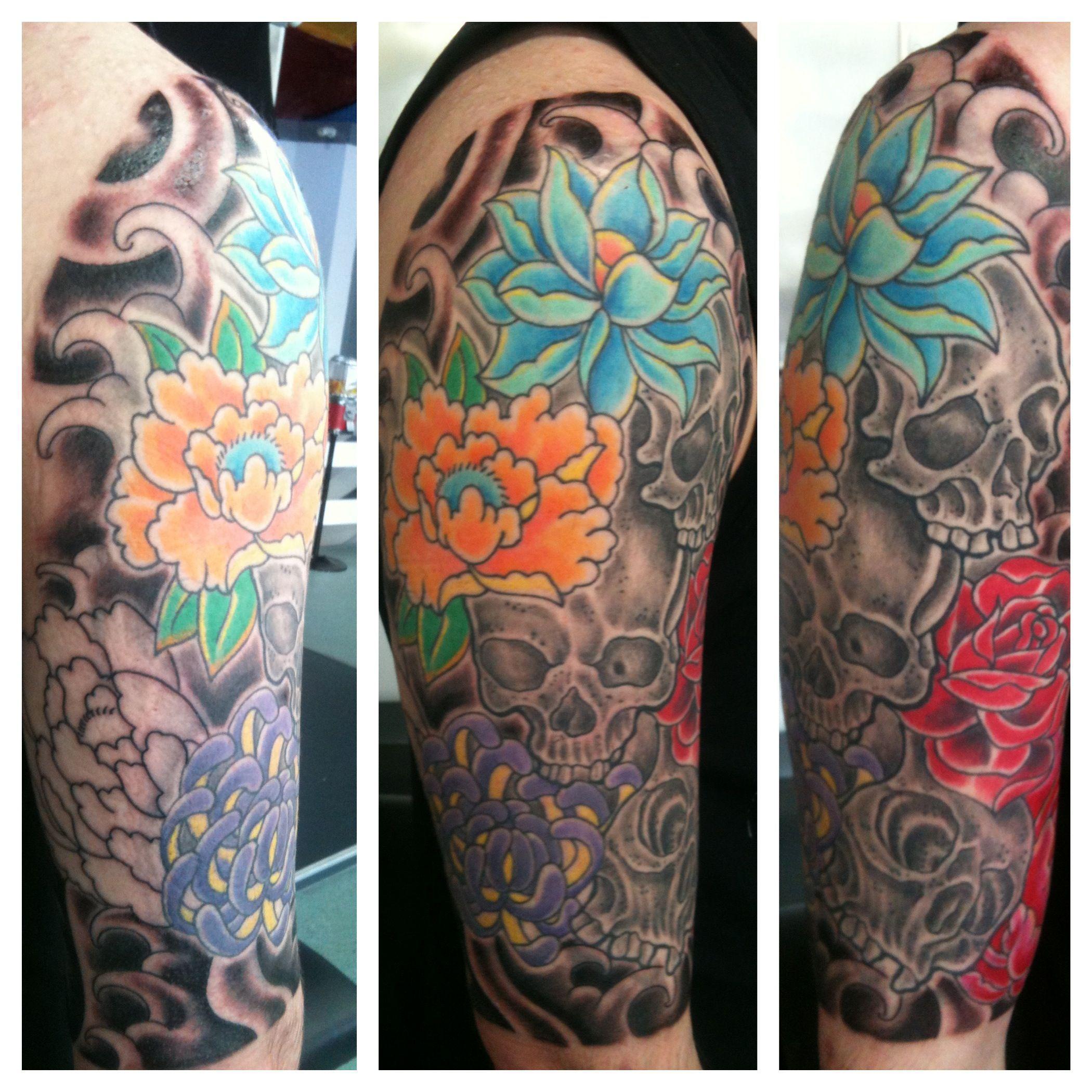 skull skulls flowers rose sleeve irish street tattoo