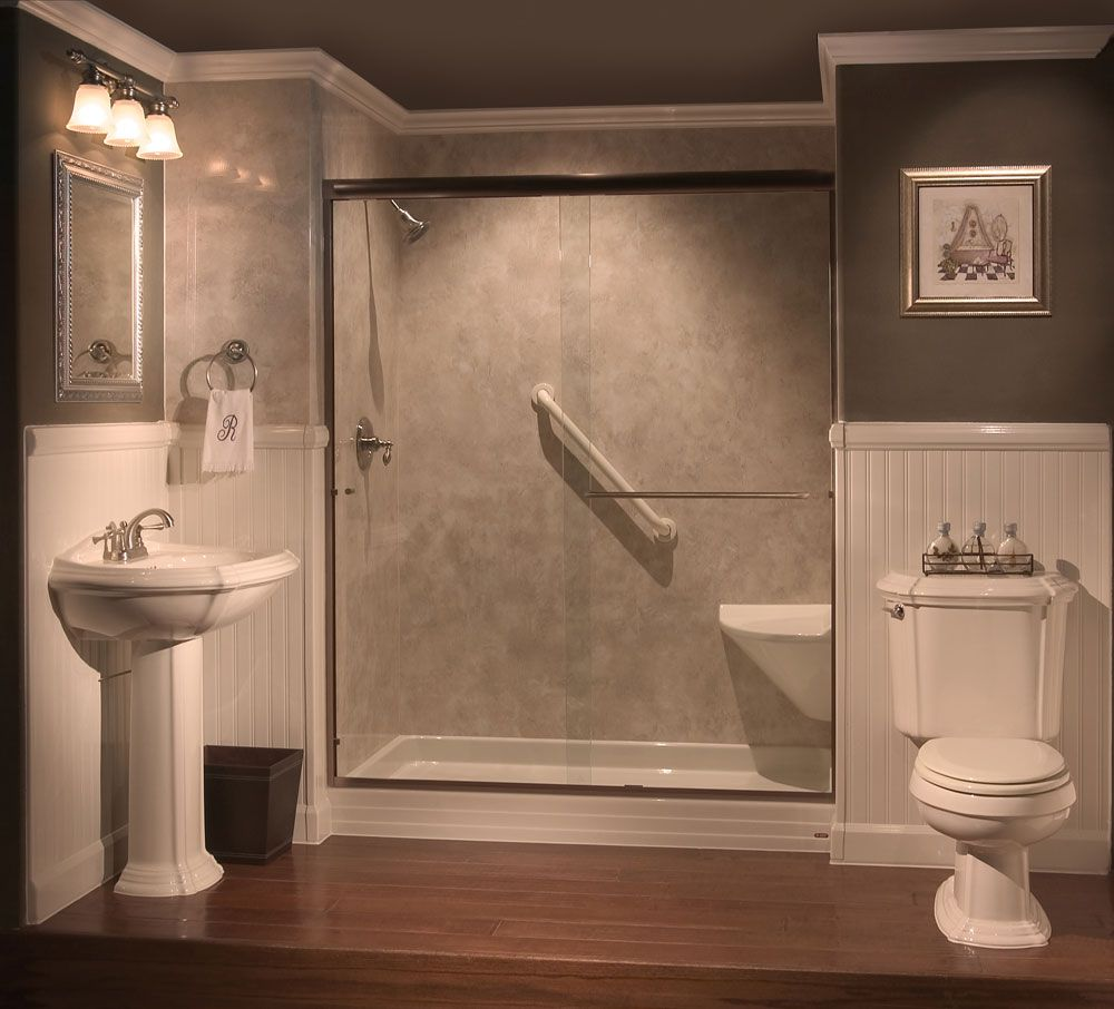 Tub an shower conversion ideas tub to shower conversions for Walk in tub bathroom designs