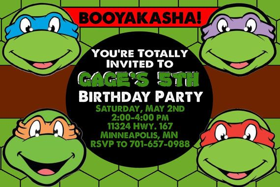 image regarding Ninja Turtles Birthday Invitations Printable named TMNT Birthday Celebration Invitation - Printable - Customized
