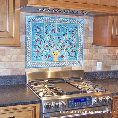 Kitchen Decorative Tiles Handpainted Decorative Kitchen Backsplash Of Peacocks And