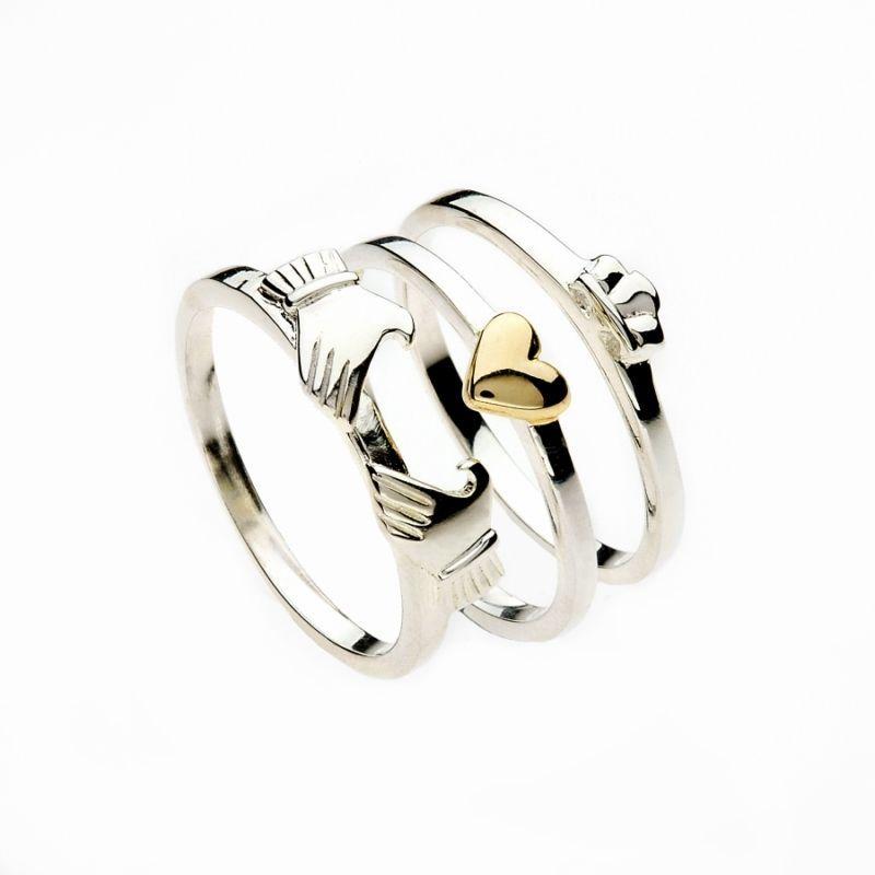 04b0f2d9335ff8 Femmes Argent   Or Irlandais Claddagh Coeur 3 Pièces Anneau À Empiler in  Bijoux, montres, Joaillerie, Bagues   eBay