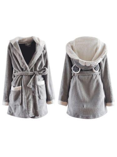 Women-Cute-Bear-Soft-Short-Hooded-Fleece-Bathrobe-Dressing-Gown -Housecoat-Grey 217f4e1f65