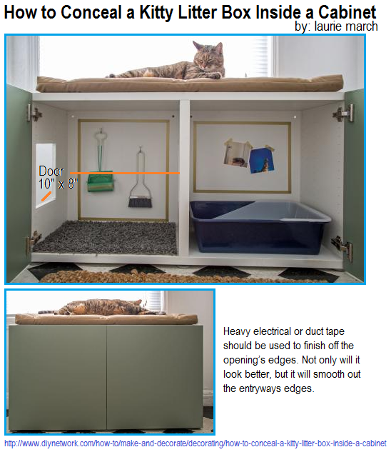 How to Conceal a Kitty Litter Box Inside a Cabinet