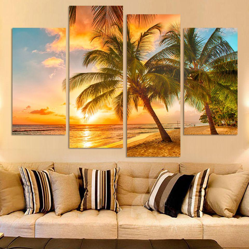4Piece Sunset Seascape Inclued Coco Beach Modern H Wall Art HD ...