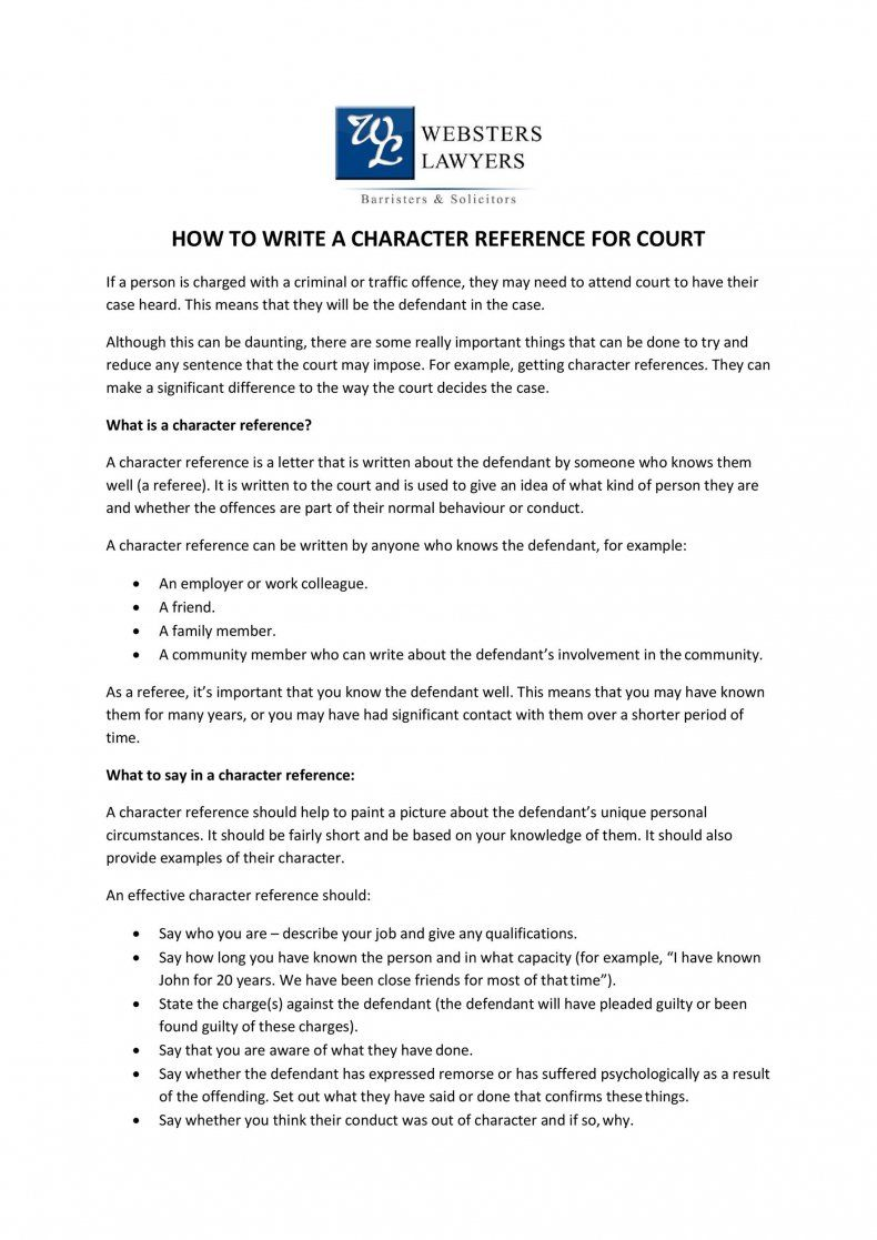 Best 29 Free Character Witness Letters (Examples + Tips) ᐅ