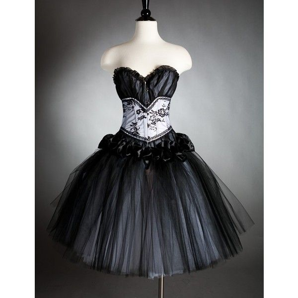 Custom Size Black And White Tulle Burlesque Corset Prom
