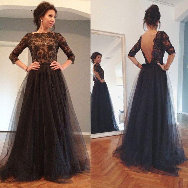 Custom Backless Prom Dress, Backless Evening Dresses,Three Quarter Sleeves Prom…