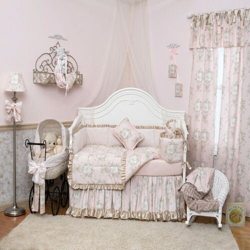 French Toile Baby Girl Bedding French Angel Toile Crib Bedding