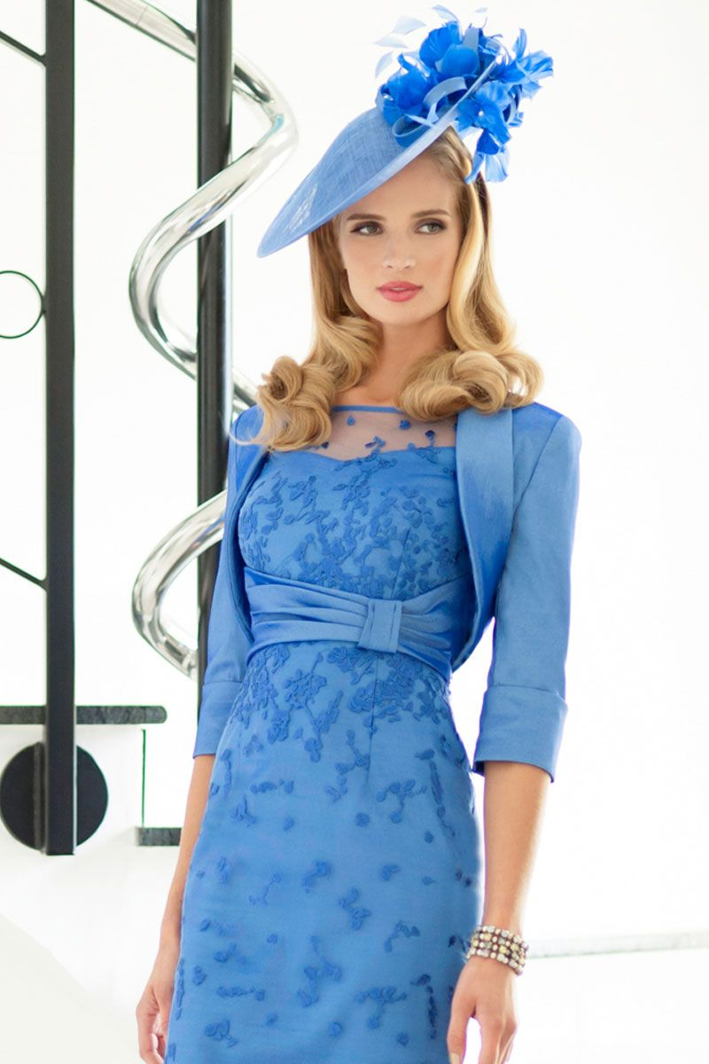 Short stretch satin high neck shift dress with bolero jacket Product ...