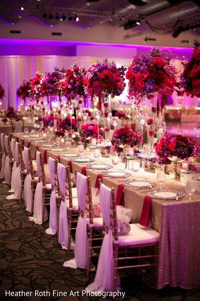 A Gorgeous Pink Red Purple Wedding Reception Decor By Prashe Heather